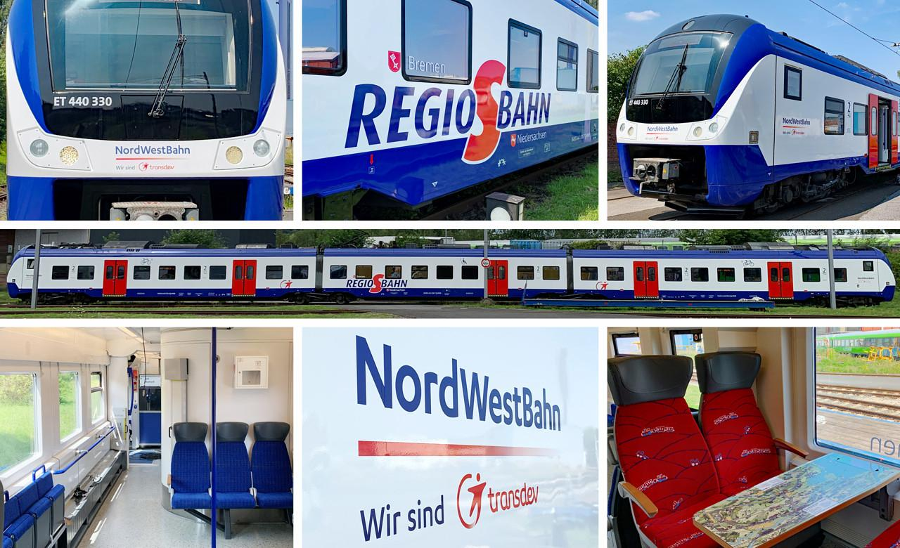 Prototype presented for upgrade and refurbishment of 35 Coradia Continental trains for Regio-S-Bahn Bremen / Lower Saxony.© Alpha Trains / NordWestBahn