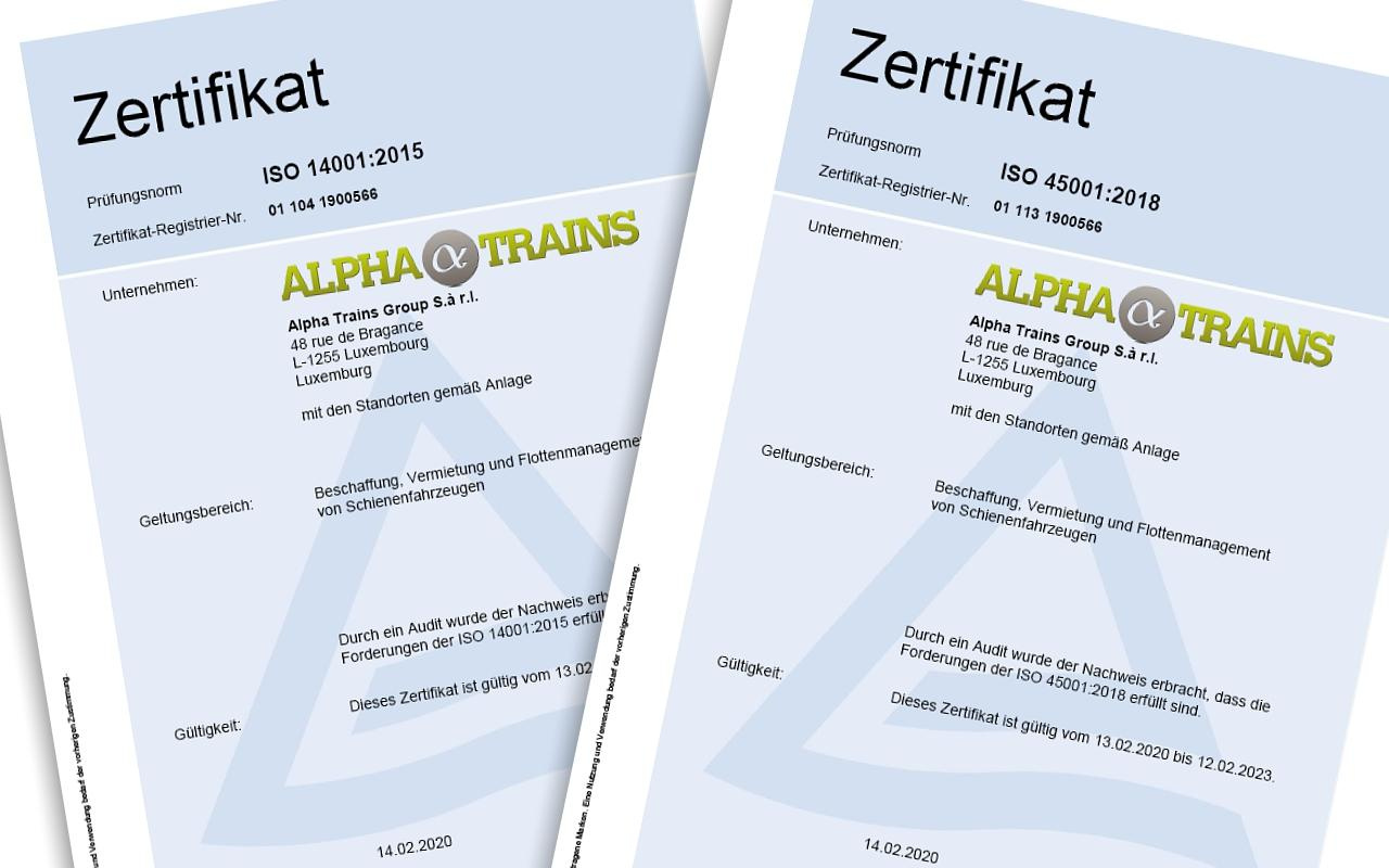 Alpha Trains erhält Zertifizierung für Umweltmanagement und Arbeitssicherheit