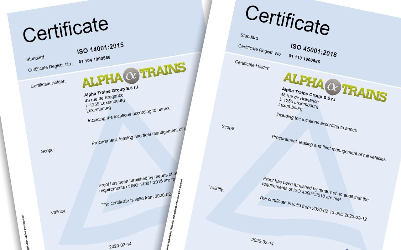 Alpha Trains receives certification for environmental management and occupational health & safety
