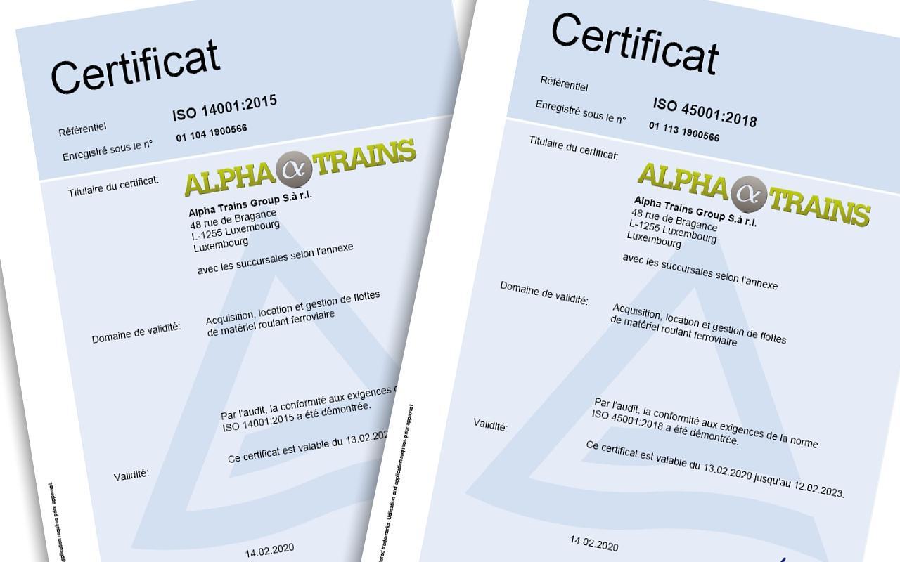 Alpha Trains certifié ISO 14001 et ISO 45001 pour la gestion de l'environnement et de la sécurité au travail