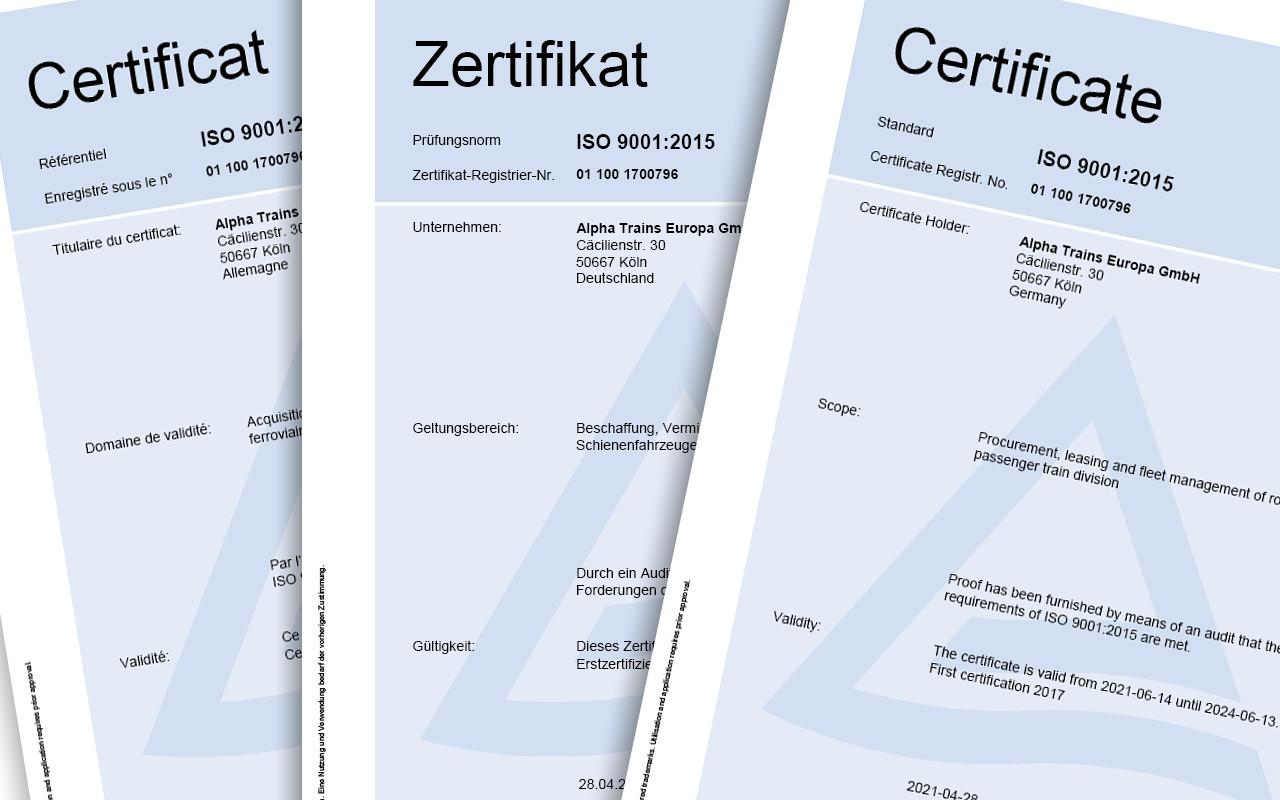 Erfolgreiche Rezertifizierung nach ISO 9001:2015 für weitere 3 Jahre für Alpha Trains
