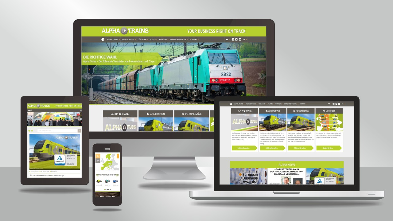 Alpha Trains' Webseite in neuem Design